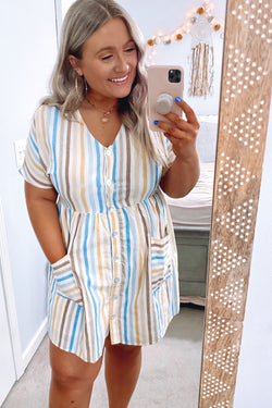 S / Natural Promises Promises Multi Color Striped Dress | CURVE - Madison and Mallory