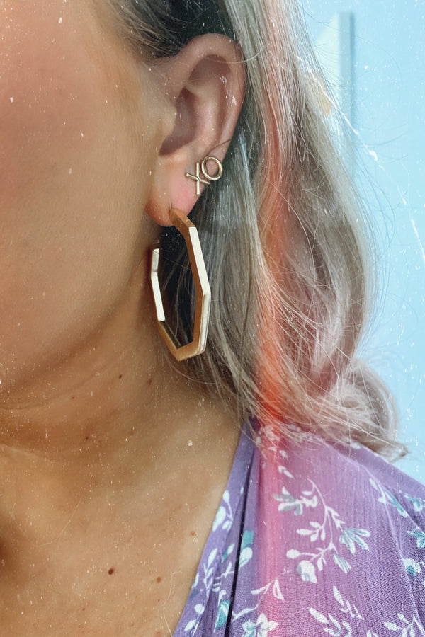 Gold From Every Angle Geometric Hoop Earrings - Madison and Mallory