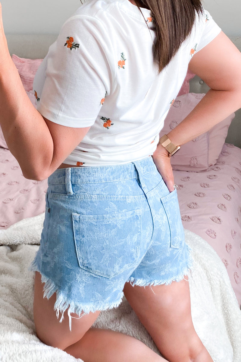 Nectar Floral Embroidered Shorts - Madison and Mallory