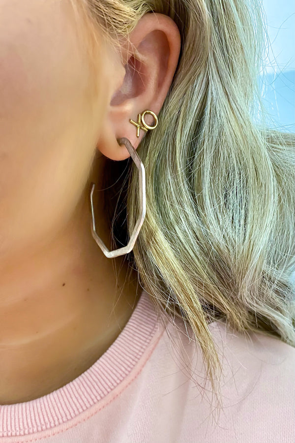 Silver Favour Octagon Hoop Earrings - Madison and Mallory
