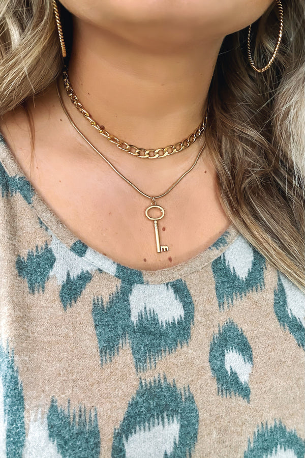 Gold Hold the Key Layered Chain Necklace - Madison and Mallory