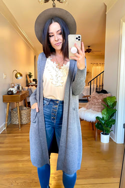 Heather Gray / S Grove Park Longline Cardigan - Madison and Mallory