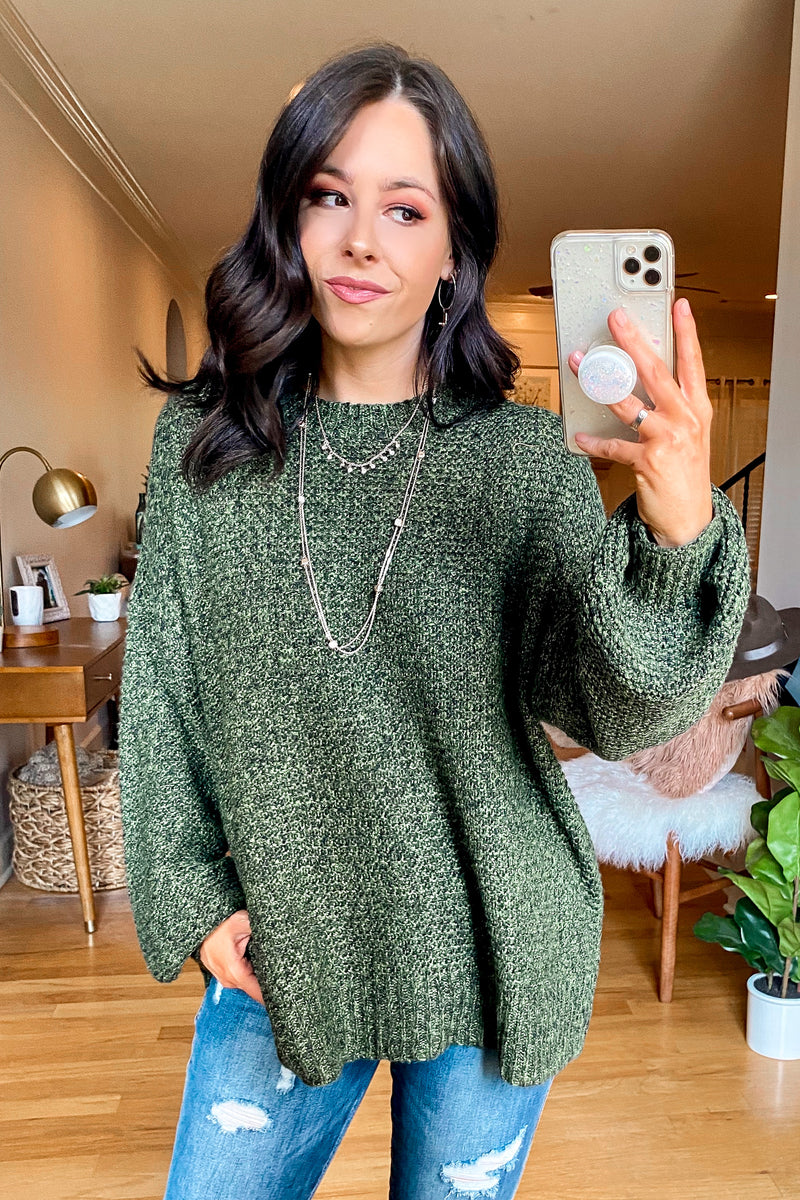 Deep Sage / S Tristen Two-Tone Knit Sweater - Madison and Mallory