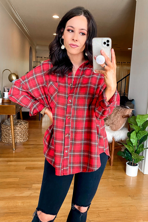Red / S Syracuse Button Down Plaid Top - Madison and Mallory