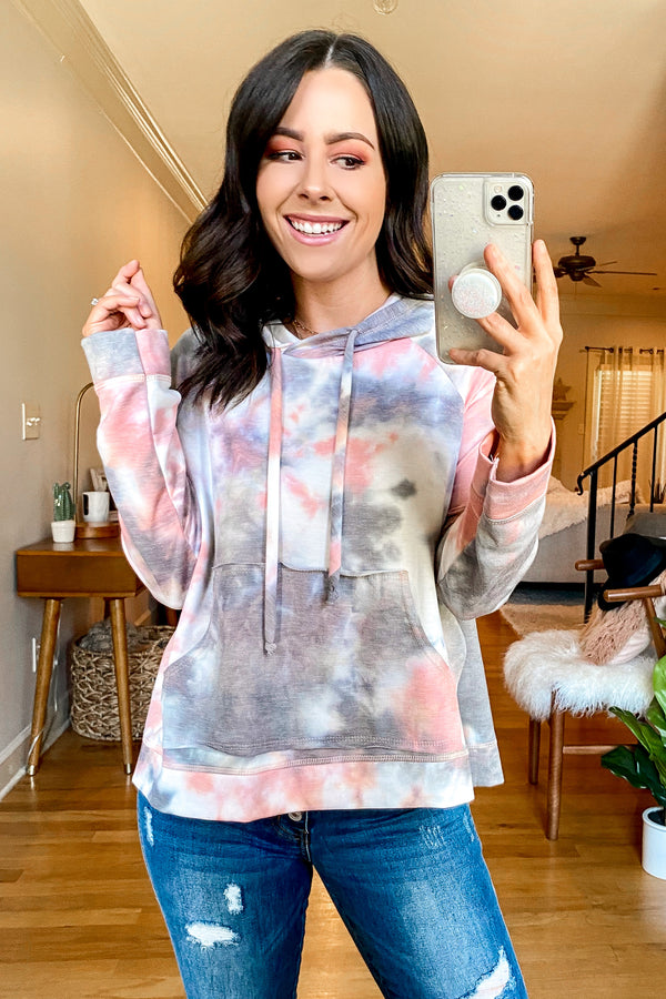 S / Rust Multi Bella Vista Tie Dye Hooded Pullover - Madison and Mallory
