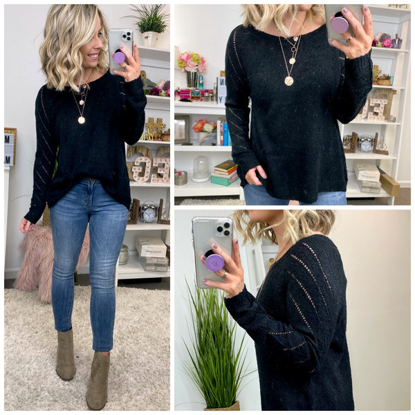 Fascination Eyelet Knit Sweater - Madison + Mallory
