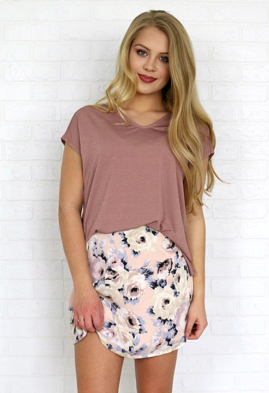 S / Pink Floral Floral A-Line Skirt - Madison + Mallory