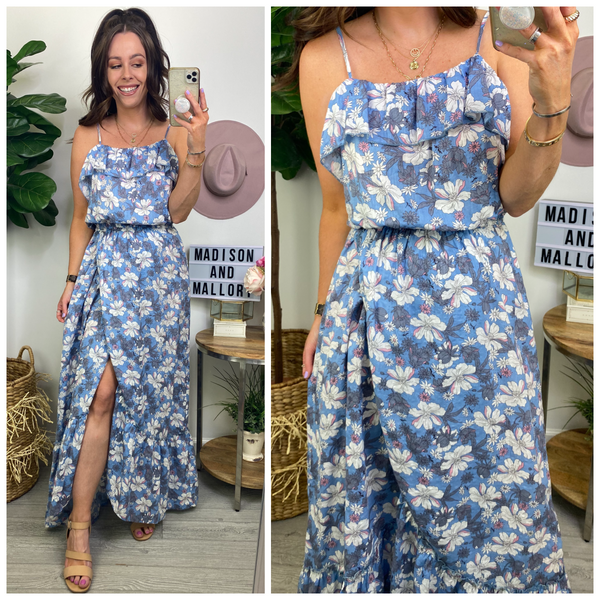 Garden Meandering Ruffle Maxi Dress - Madison and Mallory
