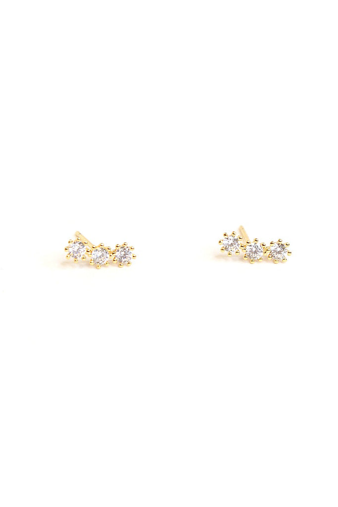 Gold Dainty Crystal Link Earrings - Madison + Mallory