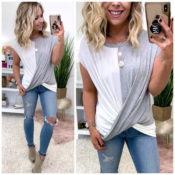 Hanford Color Block Twist Front Top - Madison + Mallory