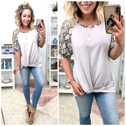 Happy Now Snake Contrast Tie Top - Madison + Mallory
