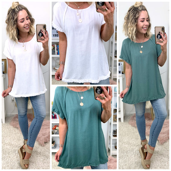 Hayley Fringe Hem Top - FINAL SALE - Madison + Mallory