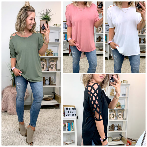 Heard It Criss Cross Cutout Top - Madison + Mallory