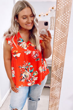 S / Red Karise V-Neck Floral Babydoll Top - Madison and Mallory