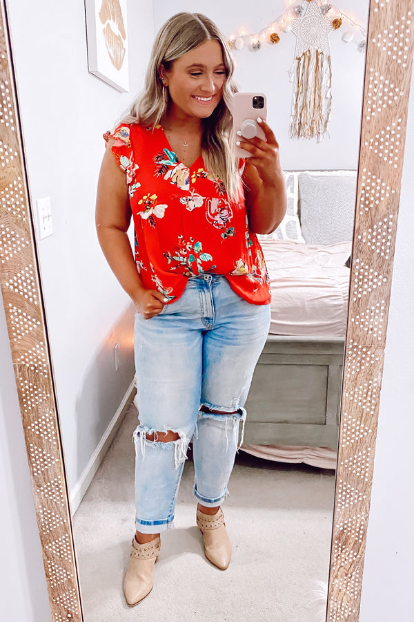 Karise V-Neck Floral Babydoll Top - FINAL SALE - Madison and Mallory