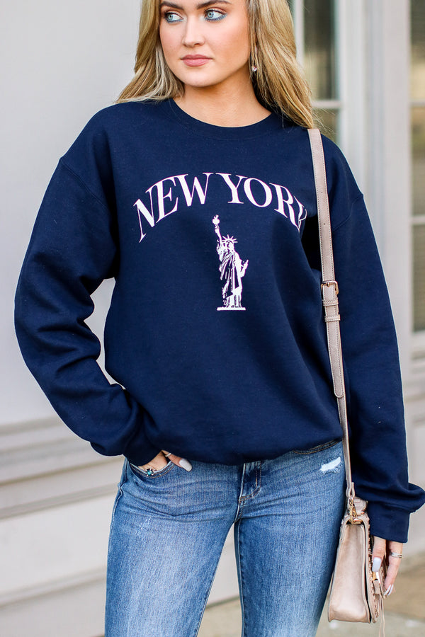 S / Navy New York Graphic Pullover - Madison + Mallory