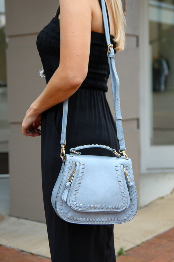 Colby Whipstitch Crossbody Bag - Periwinkle - Madison + Mallory