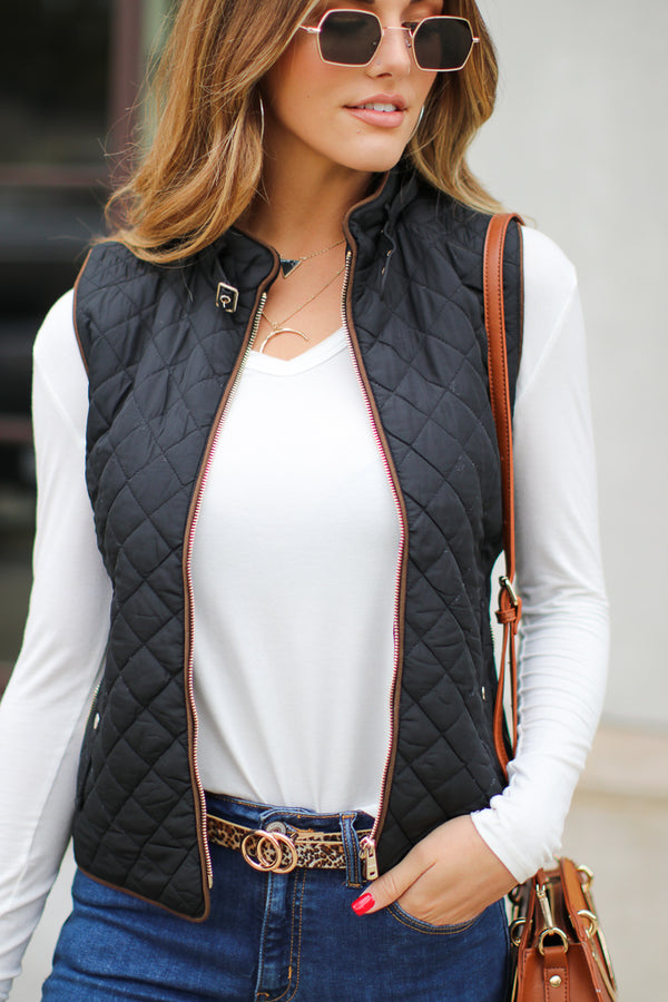 S / Black Damien Quilted Vest - Madison + Mallory