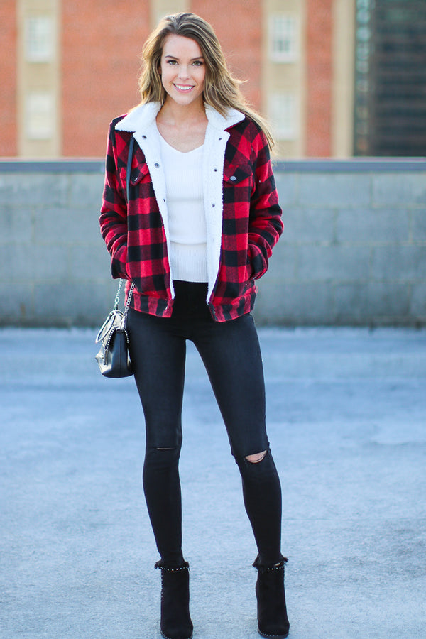 Lucky Meeting Plaid Sherpa Jacket - Madison + Mallory