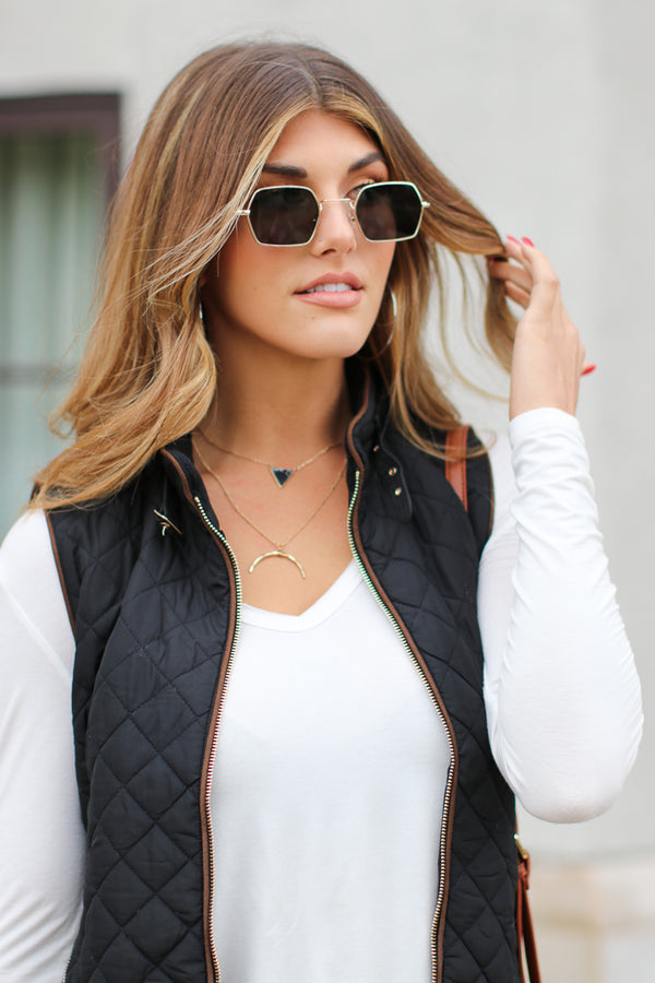 OS / Black/Silver Squared Away Sunglasses - Madison + Mallory
