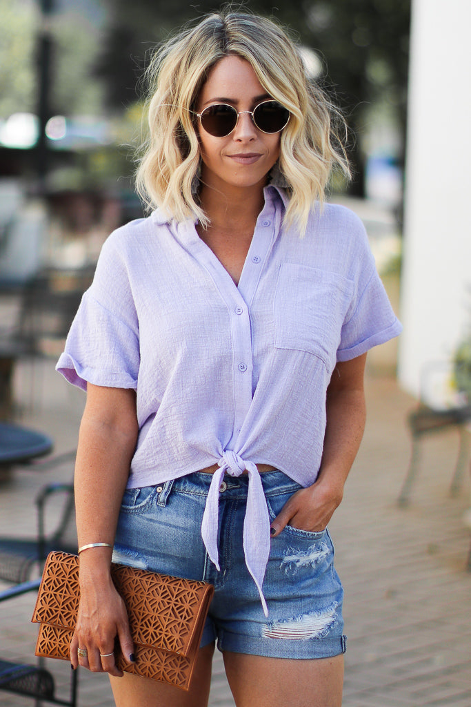S / Lavender Vitality Button Up Front Tie Top - Madison + Mallory