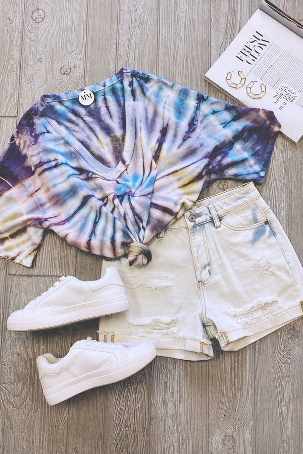 Artistic Illusion Tie Dye Swirl Short Sleeve Top - FINAL SALE - Madison and Mallory