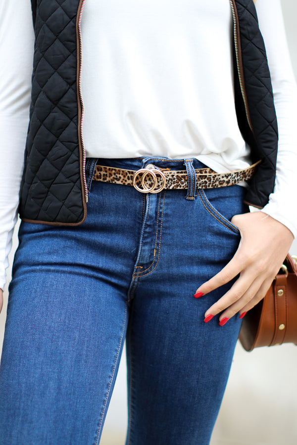 OS / Leopard Spot On Leopard Circle Belt - Madison + Mallory
