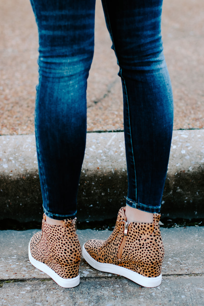 Front Row Cheetah Print Wedge Sneakers - Madison and Mallory