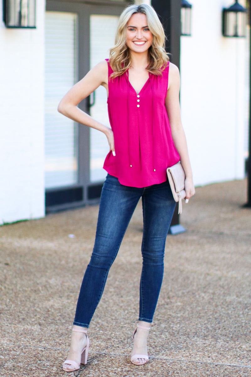 Hard to Miss Button Detail Top - FINAL SALE - Madison and Mallory