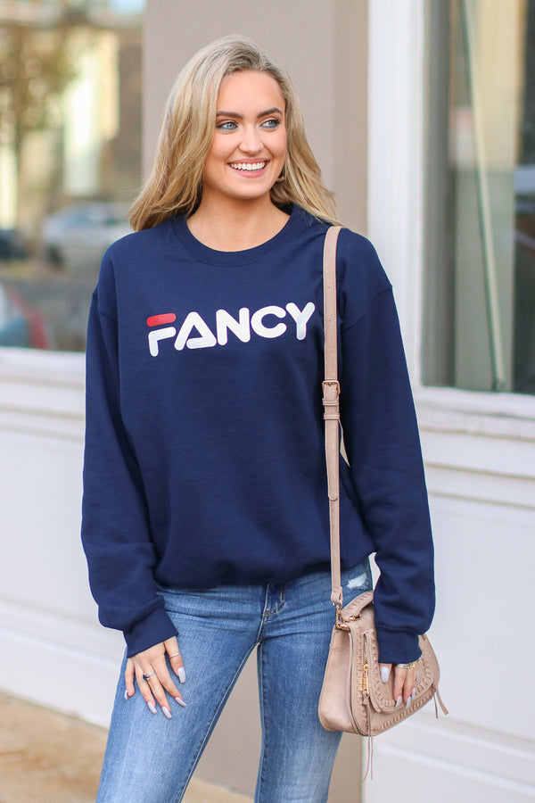 Fancy Graphic Sweatshirt - Navy - FINAL SALE - Madison and Mallory