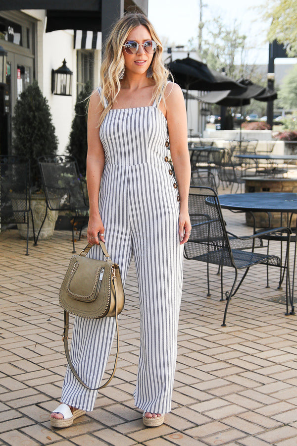 S / Ivory Songbird Striped Button Jumpsuit - Madison + Mallory