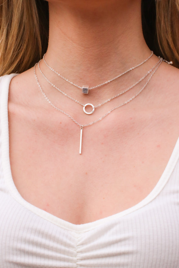 Silver Sundown Geometric Layered Necklace - Madison and Mallory
