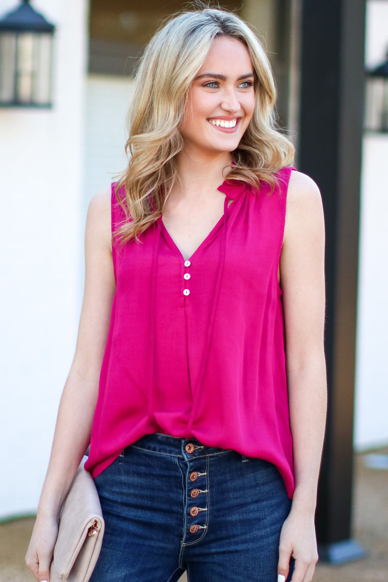 S / Magenta Hard to Miss Button Detail Top - Madison and Mallory