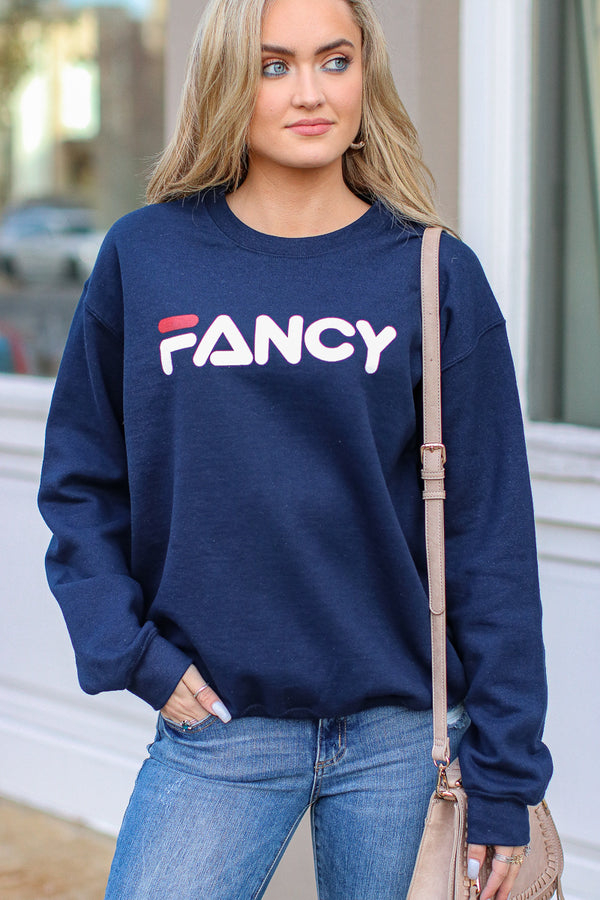 S / Navy Fancy Graphic Sweatshirt - Navy - FINAL SALE - Madison + Mallory