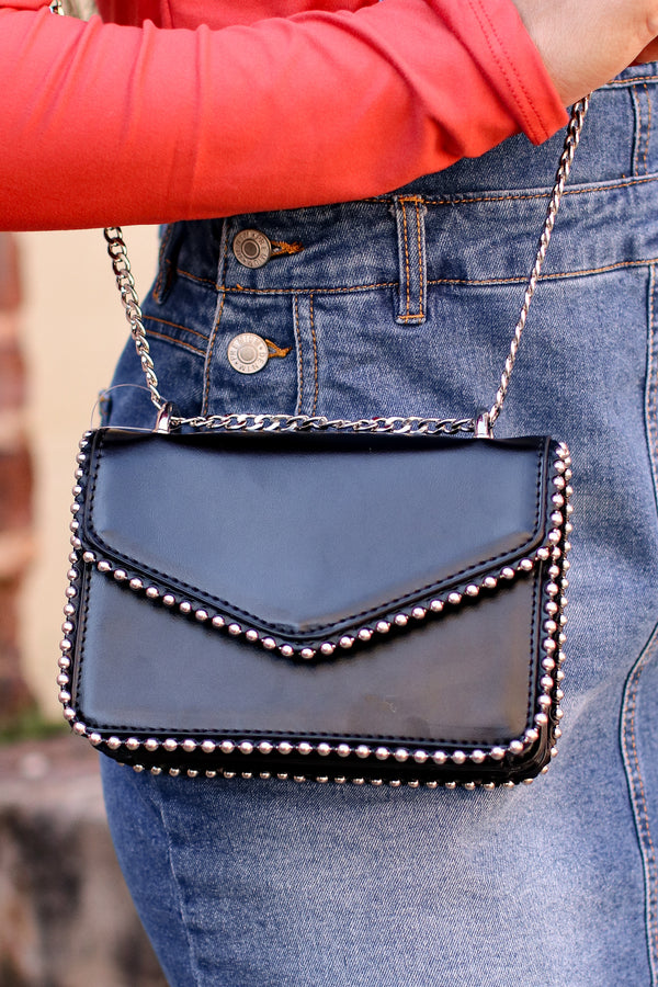 Black Andy Studded Detail Crossbody - Madison and Mallory