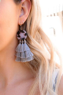 OS / Gray Imelda Tassel Acrylic Earrings - Madison + Mallory
