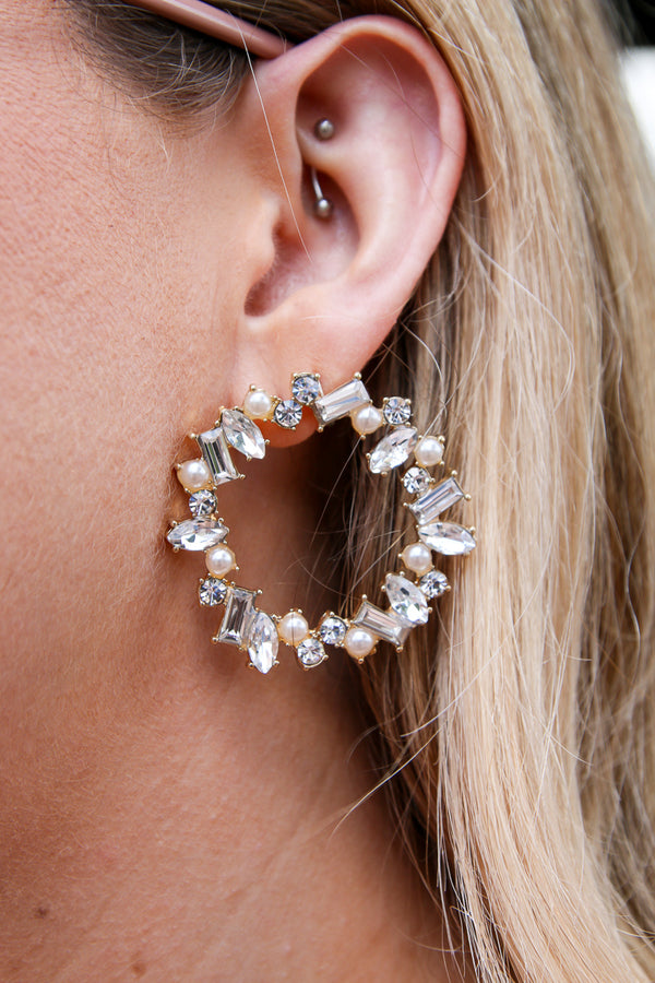 Clear Hidden Gem Rhinestone and Pearl Earrings + MORE COLORS - Madison + Mallory