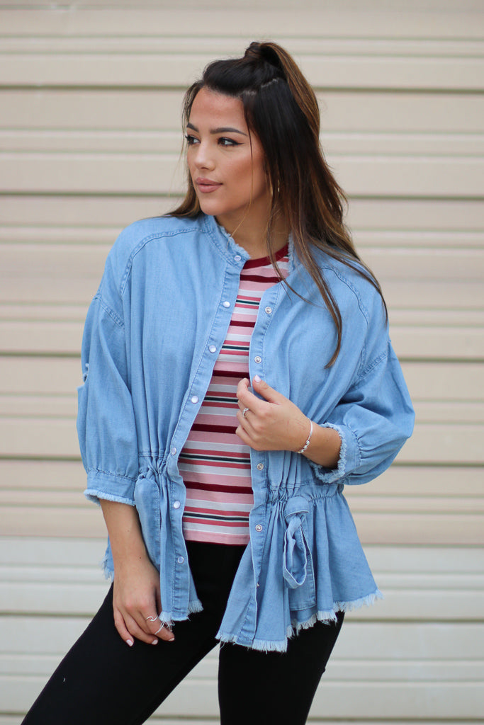 S / Denim Let Go Denim Peplum Jacket - Madison + Mallory