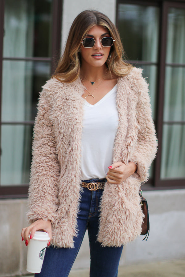Sand / S Requested Chic Faux Fur Jacket - Madison + Mallory