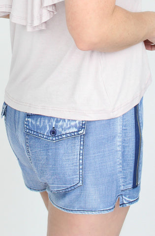 Chambray Zipper Pocket Shorts