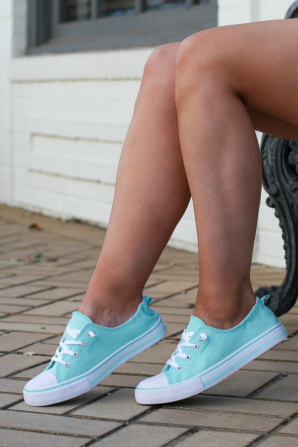 Mint / 6 Play it Off Canvas Sneakers - Mint - Madison + Mallory