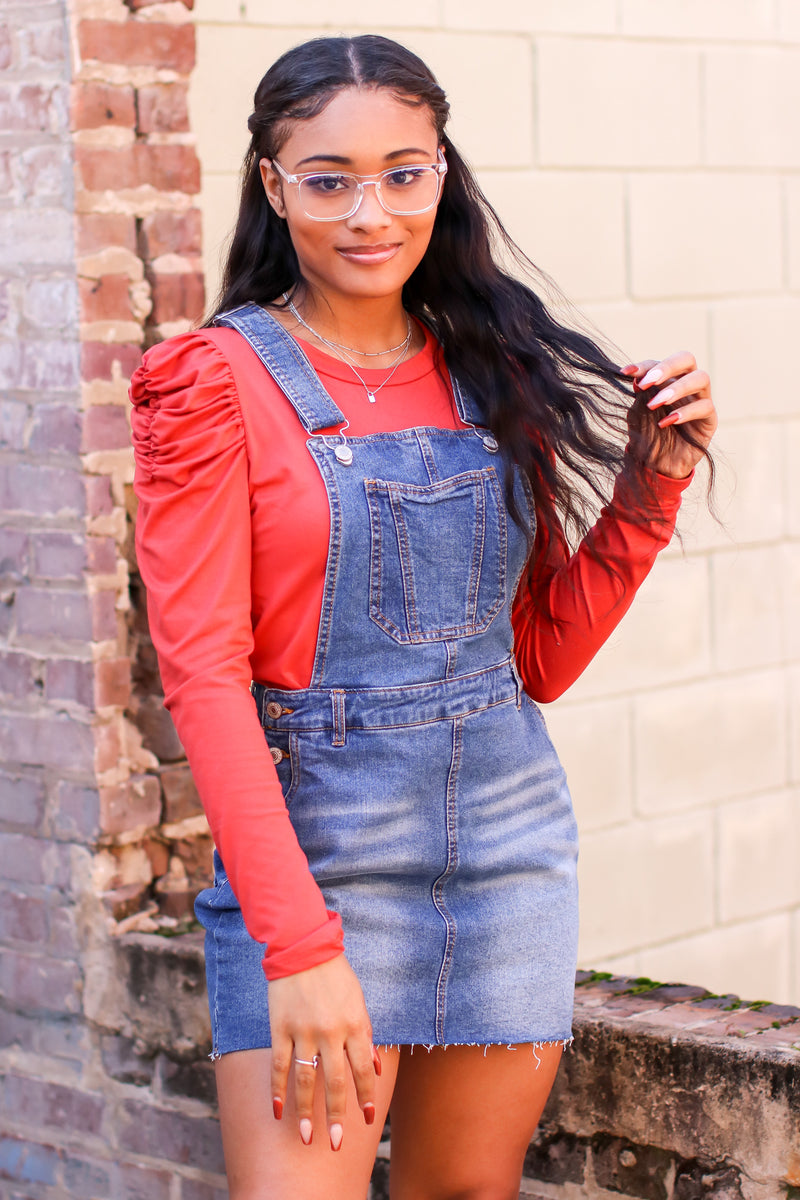 Blue / S Ellis Denim Overall Dress - Madison and Mallory