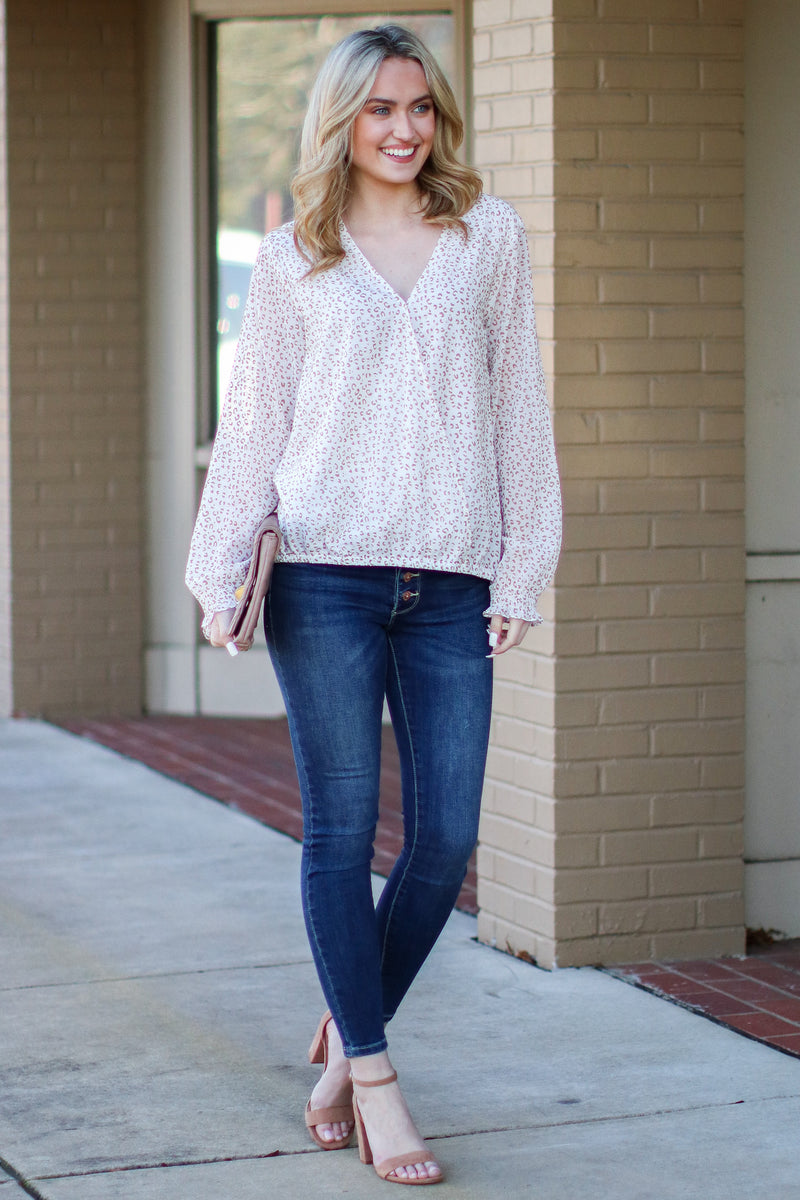 Make it Easy Leopard Print Surplice Top - Madison and Mallory