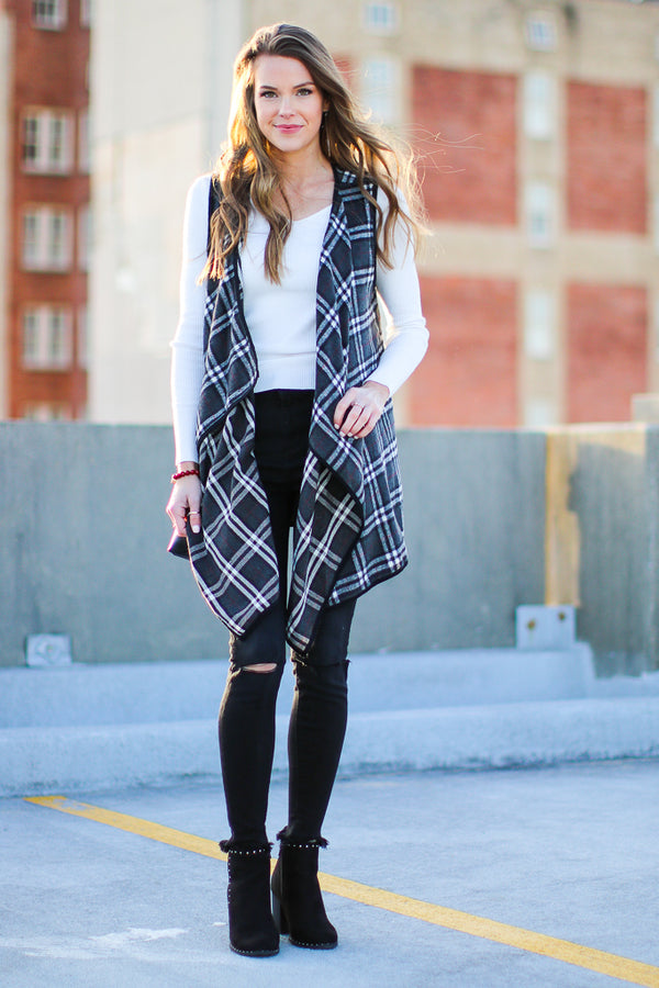 Drew Plaid Draped Vest - Madison + Mallory
