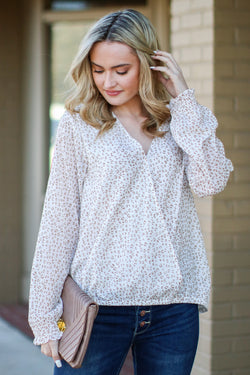 S / Off White Make it Easy Leopard Print Surplice Top - Madison and Mallory