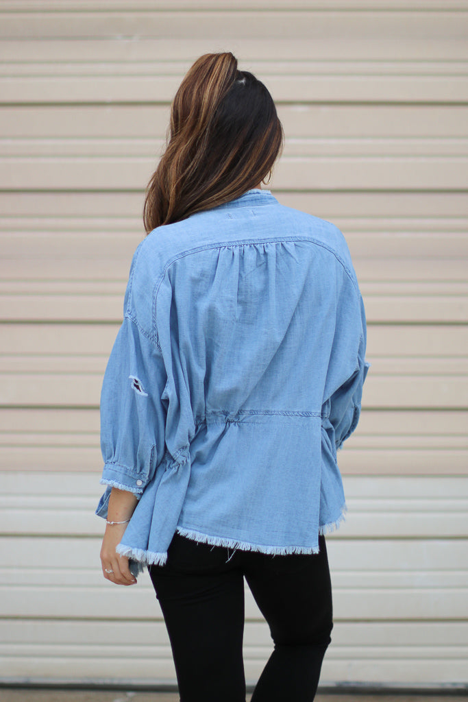 Let Go Denim Peplum Jacket - Madison + Mallory