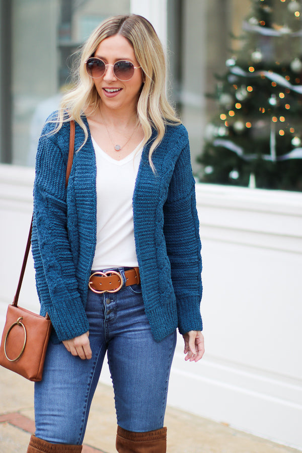 SM / Teal Keep Me Cozy Chenille Cable Knit Cardigan | CURVE - Madison + Mallory