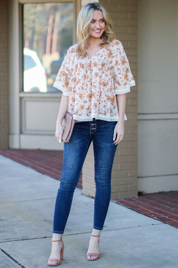 S / Natural Torenia Flowy Floral Top - Madison + Mallory