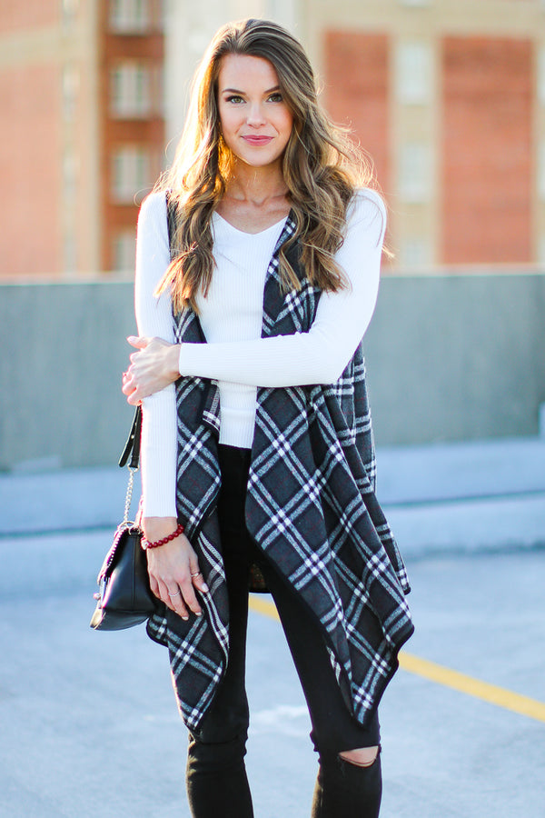 SM / Charcoal Drew Plaid Draped Vest - Madison + Mallory