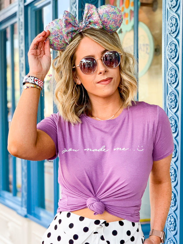 S / Lavender You Made Me Smile Graphic Top - Madison + Mallory